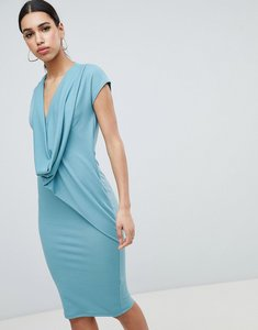 Read more about Asos design drape front dress - duck egg