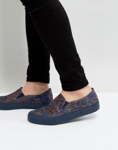 Read more about Asos slip on plimsolls in paisley print with navy sole - multi