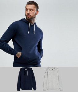 Read more about Asos hoodie 2 pack navy grey marl save - navy grey marl