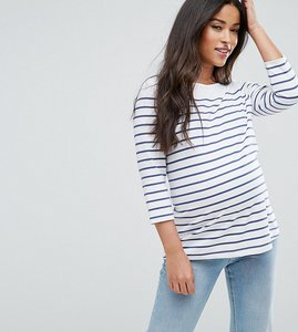 Read more about Asos maternity top in cotton breton stripe with 3 4 sleeve - white navy