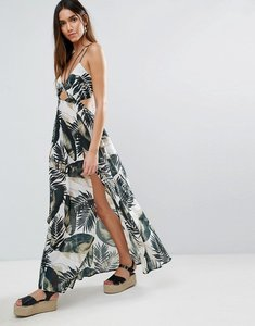 Read more about Asos beach maxi dress with strap detail in mono palm print - mono palm