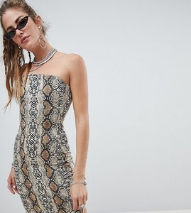 Read more about One above another bodycon bandeau dress in snake print - snake print