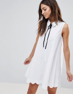 Read more about The english factory poplin collar shift dress - white
