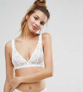 Read more about Monki lace longline bralette - white