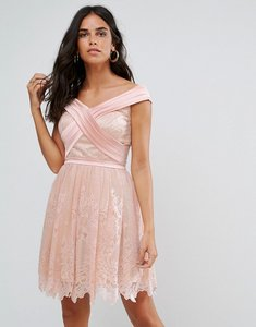 Read more about Forever unique bardot cross over mini lace skater dress - pink