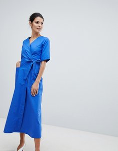 Read more about Closet midi wrap dress - blue