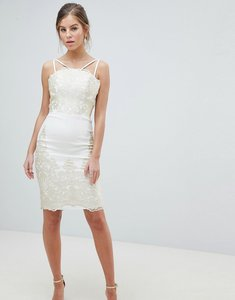 Read more about Chi chi london lace detail pencil midi prom dress with v back - cream gold