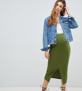 Read more about Asos design maternity rib midi pencil skirt with front split - khaki