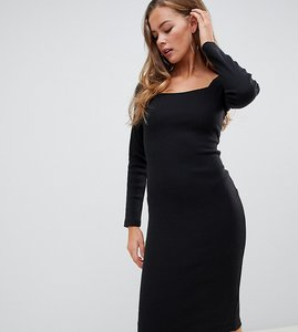 Read more about Missguided square neck midi dress in black