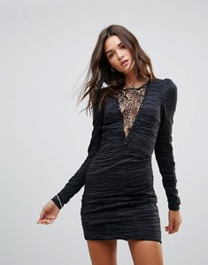 Read more about Free people look of love lace insert bodycon dress - black