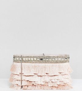 Read more about Accessorize siena fringe ziptop clutch - 06 nude