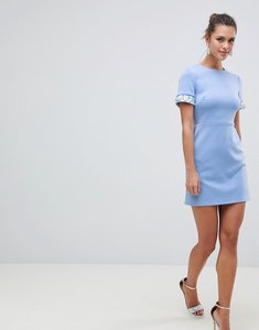 Read more about Asos design scuba mini dress with embellished sleeves - baby blue