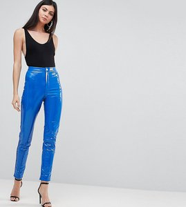 Read more about Asos tall rivington high waisted denim jeggings in vinyl effect - blue