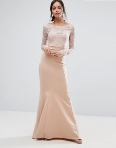 Read more about City goddess bow back maxi dress with lace body - nude