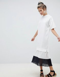 Read more about Asos design midi dress with colour block pleated hem - mono