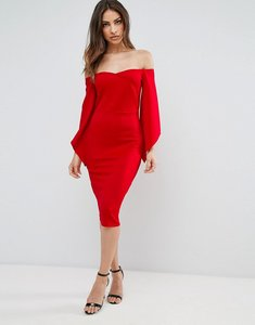 Read more about Club l bardot detail flute sleeve midi dress - red