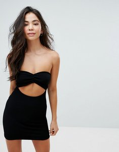 Read more about Asos crinkle bandeau beach dress with cut out - black