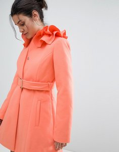 Read more about Asos ruffle neck skater coat - coral