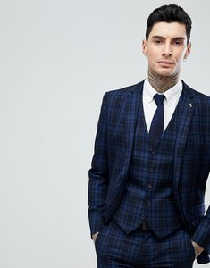 Read more about Farah skinny suit jacket in check - navy