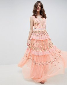 Read more about Needle thread layered maxi dress with embroidery detail - coral