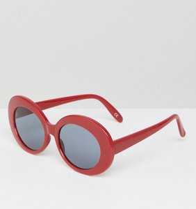 Read more about Asos oval sunglasses in red - red