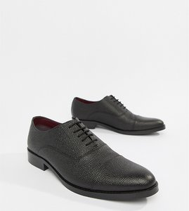 Read more about Asos design lace up shoes in black scotch grain leather - black