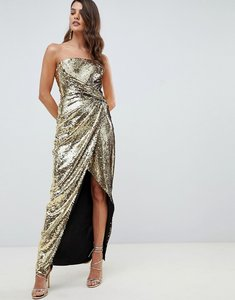 Read more about Asos design bandeau maxi dress in allover sequin - gold