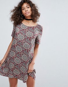 Read more about Glamorous short sleeve printed swing dress - deep red green print