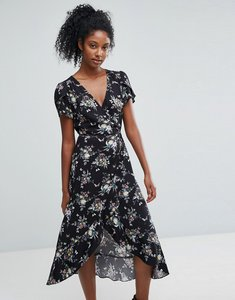 Read more about Oasis wrap front floral print midi dress - multi black