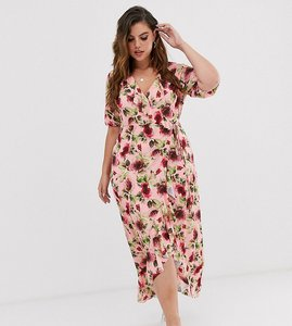 Read more about Asos design curve frill wrap maxi dress in floral print