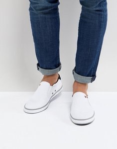 Read more about Tommy hilfiger iconic slip on canvas plimsolls in white - white