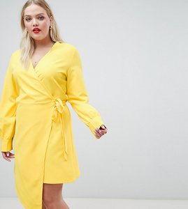 Read more about Unique 21 hero long sleeve wrap dress - yellow