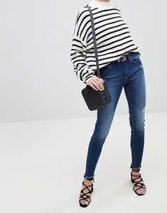 Read more about Pieces five salsa high waisted distressed skinny jeans - med blue denim