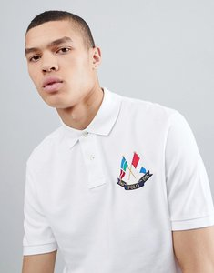 Read more about Polo ralph lauren bring it back embroidered flags pique polo custom regular fit in white - white