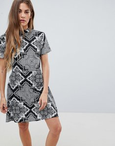 Read more about Daisy street high neck printed dress - black grey