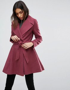 Read more about Asos skater coat with self belt and oversized collar - blush