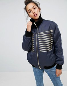 Read more about Asos bomber jacket with gold trims - multi