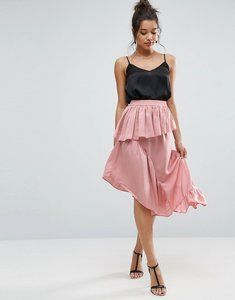 Read more about Asos deconstructed midi skirt in satin - pink smoke