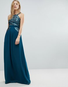 Read more about Little mistress high neck sequin detail maxi dress - teal