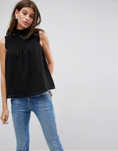 Read more about Asos high neck blouse with shirred bib - black