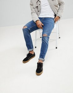 Read more about Asos slim jeans in vintage dark wash with knee rips - dark wash blue