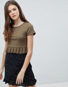 Read more about Glamorous frill detail t-shirt - khaki