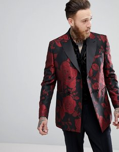Read more about Asos skinny double breasted blazer in red floral jacquard - black