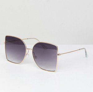 Read more about Asos metal oversized square sunglasses with pearl nose bridge - gold