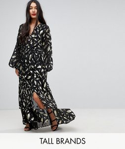 Read more about Y a s tall gold foil long sleeve maxi dress - black gold