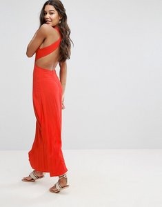Read more about Asos open back maxi dress in crinkle fabric - red