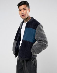 Read more about Asos borg bomber jacket in grey colour block - grey