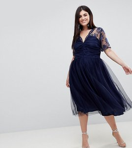 Read more about Asos curve lace top midi dress with ruched bodice - navy