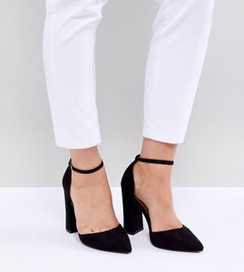 Read more about Asos design pebble extra wide fit pointed high heels - black