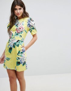 Read more about Asos mini shift dress with puff sleeve in textured floral print - multi